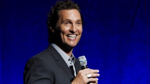 "FILE - In this April 23, 2018 file photo, Matthew McConaughey, a cast member in the upcoming film ""White Boy Rick,"" speaks during the Sony Pictures Entertainment presentation at CinemaCon 2018 in Las Vegas. (Photo by Chris Pizzello/Invision/AP)"