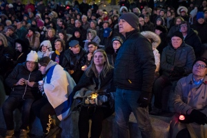 People attend a vigil for the shooting in Pittsburgh at Mel Lastman Square in North York, Ont., on Monday, October 29, 2018. THE CANADIAN PRESS/ Tijana Martin