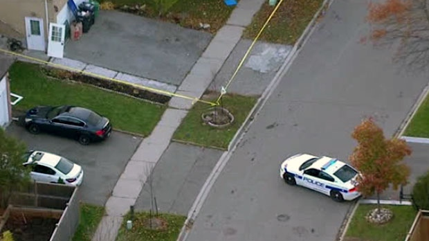 The scene of a Brampton shooting is seen from Chopper 24.