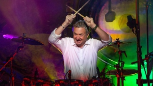 This Sept. 23, 2018 photo released by Jill Furmanovsky shows Pink Floyd drummer Nick Mason performing with Nick Mason's Saucerful of Secrets band in Portsmouth, England.  (Jill Furmanovsky/www.rockarchive.com via AP)