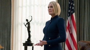 "This image released by Netflix shows Robin Wright in a scene from the final season of ""House Of Cards."" (David Giesbrecht/Netflix via AP)"