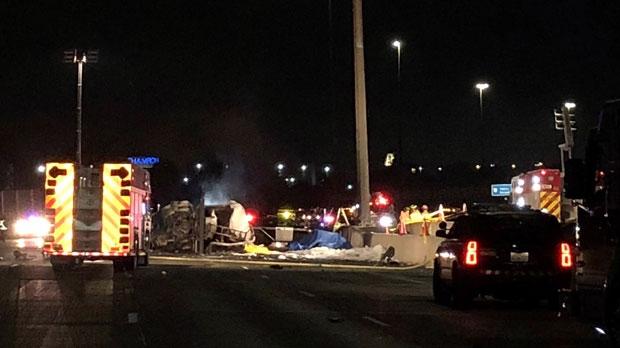 Two men pronounced dead at scene of fiery crash on Hwy  407
