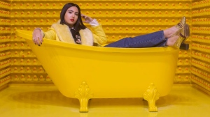 """Instagram influencer Negin Tavana, whose page @Negzila has more than 35,000 followers, is pictured at the pop art installation """"Happy Place"""" in Toronto, on Monday, October 29, 2018. THE CANADIAN PRESS/Chris Young"""