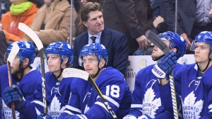 Toronto Maple Leafs head coach Mike Babcock looks on during the final seconds of play during third period NHL hockey action against the Calgary Flames in Toronto on Monday, October 29, 2018. THE CANADIAN PRESS/Nathan Denette