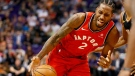 Toronto Raptors forward Kawhi Leonard (2) drives against the Phoenix Suns during the first half of an NBA basketball game, Friday, Nov. 2, 2018, in Phoenix. (AP Photo/Matt York)