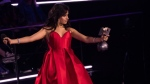 Singer Camila Cabello accepts the Best Artist award during the European MTV Awards in Bilbao, Spain, Sunday, Nov. 4, 2018. (Photo by Vianney Le Caer/Invision/AP)