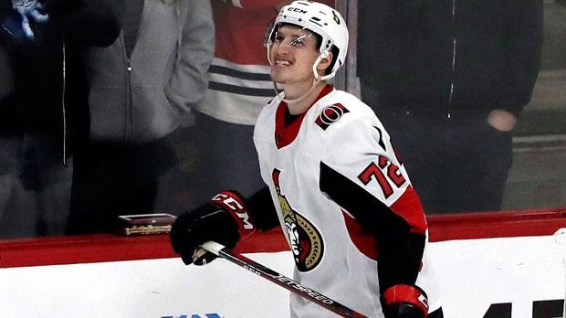 Ottawa Senators defenseman Thomas Chabot reacts to missing a shot during the shootout in an NHL hockey game against the Chicago Blackhawks, Wednesday, Feb. 21, 2018, in Chicago. The Blackhawks won 3-2. (AP Photo/Nam Y. Huh)