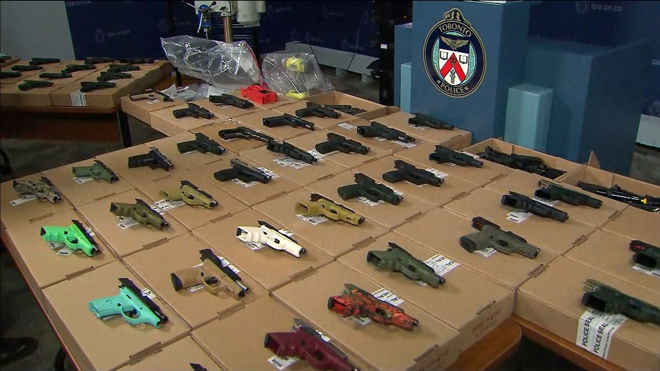 "Guns seized in ""Project Bellair"" are shown at TPS headquarters on Nov. 7, 2018. (CP24)"