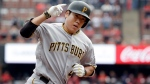 In this Oct. 1, 2016, file photo, Pittsburgh Pirates' Jung Ho Kang rounds the bases after hitting a three-run home run during the first inning of a baseball game against the St. Louis Cardinals in St. Louis. (AP Photo/Jeff Roberson, FIle)