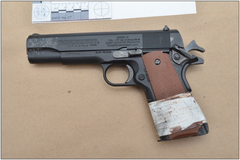 One imitation Winchester .45 calibre CO2 lead pellet pistol is shown. (Special Investigations Unit)