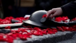 People lay poppies on the Tomb of the Unknown Soldier at the National War Memorial after Remembrance Day ceremonies, in Ottawa on Sunday, Nov. 11, 2018. THE CANADIAN PRESS/Justin Tang