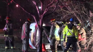 Three people were rushed to a trauma centre after a collision near Royal York Road and Eglinton Avenue West.
