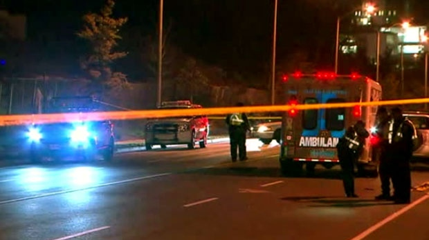 The scene of a fatal crash in Morningside is seen.