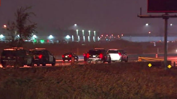 One male has been rushed to a trauma centre following a crash near Highway 410 and Courtneypark Drive.