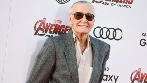 "Stan Lee arrives at the Los Angeles premiere of ""Avengers: Age Of Ultron"" at the Dolby Theatre on Monday, April 13, 2015. (Photo by Jordan Strauss/Invision/AP)"