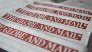 Copies of the Globe and Mail newspaper are shown in Toronto on Tuesday, Aug.22, 2017. THE CANADIAN PRESS/Graeme Roy