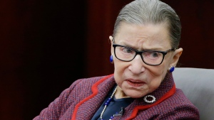 """In this Jan. 30, 2018 photo, Supreme Court Justice Ruth Bader Ginsburg participates in a """"fireside chat"""" in the Bruce M. Selya Appellate Courtroom at the Roger William University Law School in Bristol, R.I. (AP Photo/Stephan Savoia)"""