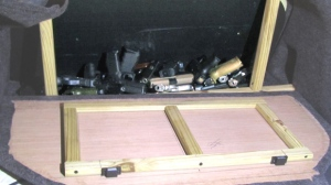 Handguns are seen in a secret compartment found inside a vehicle searched in Niagara Falls on Oct. 16. (CBSA)