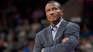 Detroit Pistons coach Dwane Casey watches play during the first half of the team's NBA preseason basketball game against the San Antonio Spurs, Friday, Oct. 5, 2018, in San Antonio. Casey woke up Monday morning thinking about the Toronto Raptors. But the coach said if there was any trepidation about Wednesday's return to Toronto, it was more about facing the league's best team, and less about being back in the place from which he'd been unceremoniously punted six months ago. THE CANADIAN PRESS/AP /Darren Abate
