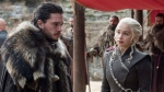 "This image released by HBO shows Kit Harington, left, and Emilia Clarke on the season finale of ""Game of Thrones."" The eighth and last season of ""Game of Thrones"" finally has a date with destiny. HBO said Tuesday, Nov. 13, 2018, that the series will return in April 2019 with six episodes to conclude its run. (Macall B. Polay/HBO via AP)"