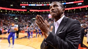 "Former Toronto Raptors coach and current coach Detroit Pistons Dwane Casey arrives on court before NBA action Toronto on Wednesday Nov. 14, 2018. Casey said it was strange being back on the Toronto Raptors basketball court where he'd left so much ""blood, sweat and tears."" THE CANADIAN PRESS/Frank Gunn"