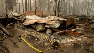 Tape marks a spot where sheriff's deputies recovered the body of a Camp Fire victim on Wednesday, Nov. 14, 2018, in Paradise, Calif. Thousands of homes were destroyed when flames hit Paradise, a former gold-mining camp popular with retirees, on Nov. 8, killing multiple people in California's deadliest wildfire. (AP Photo/Noah Berger)