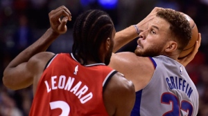 Toronto Raptors forward Kawhi Leonard (2) defends against the Detroit Pistons forward Blake Griffin (23) during second half NBA basketball action in Toronto on Wednesday, Nov. 14, 2018. THE CANADIAN PRESS/Frank Gunn
