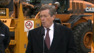Mayor John Tory speaks with reporters during a news conference outlining the city's winter preparedness plans on Thursday morning.