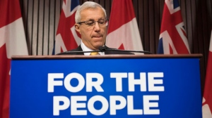 Ontario Finance Minister Vic Fedeli addresses the accusation of sexual misconduct with the media following the tabling in the Legislature of the 2018 Ontario Economic Outlook and Fiscal Review at Queen's Park in Toronto on Thursday, November 15, 2018. THE CANADIAN PRESS/Nathan Denette