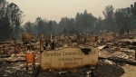 In this Tuesday, Nov. 13, 2018 file photo a sign stands at a community destroyed by the Camp fire in Paradise, Calif. Most homes are gone, as are hundreds of shops and other buildings. The supermarket, the hardware store, Dolly-O-Donuts & Gifts where locals started their day with a blueberry fritter and a quick bit of gossip, all gone. The town quite literally went up in smoke and flames in the deadliest, most destructive wildfire in California history. (AP Photo/John Locher, File)