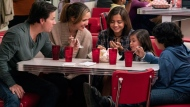 """This image released by Paramount Pictures shows Mark Wahlberg, from left, Rose Byrne, Isabela Moner, Julianna Gamiz and Gustavo Quiroz in a scene from """"Instant Family."""" (Hopper Stone/Paramount Pictures via AP)"""