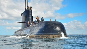 In this undated file photo provided by the Argentina Navy shows an ARA San Juan, a German-built diesel-electric vessel, near Buenos Aires, Argentina. Argentina's navy announced early Saturday, Nov. 17, 2018, that searchers found the missing submarine ARA San Juan deep in the Atlantic a year after it disappeared with 44 crewmen aboard. (Argentina Navy via AP File)