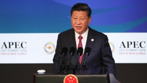 China's President Xi Jinping speaks during the APEC CEO Summit 2018 in Port Moresby, Papua New Guinea, Saturday, Nov. 17, 2018. (Fazry Ismail/Pool Photo via AP)