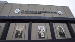 "St. Michael's College School is shown in Toronto on November 15, 2018. Advocates say shocking new videos of extreme bullying offer parents and educators an opportunity to teach young witnesses the importance of bystander intervention. ""Targeting behavioural change from the bully is not as effective as targeting the bystander to make a culture shift,"" said Gordana Skrba of the Ontario Federation for Cerebral Palsy. A video posted Nov. 8 shows a 14-year-old Nova Scotia boy with cerebral palsy lying down in a stream as a girl steps on his back. About 20 students watch, some filming on their phones. This week, news emerged about two videotaped incidents at St. Michael's College in Toronto. Police sources say members of the basketball team bullied one student and soaked him with water, while a group of boys held down another student and allegedly sexually assaulted him with a broom handle. THE CANADIAN PRESS/Frank Gunn"