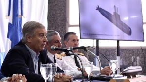 Argentina's Defense Minister Oscar Aguad talks during a press conference in Buenos Aires, Argentina, Saturday, Nov. 17, 2018. (AP Photo/Pablo Stefanec)