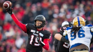Calgary Stampeders quarterback Bo Levi Mitchell throws the ball during first half CFL West Final football action against the Winnipeg Blue Bombers in Calgary, Sunday, Nov. 18, 2018.THE CANADIAN PRESS/Todd Korol