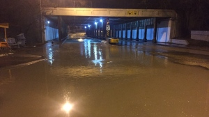 A watermain break has closed the southbound lanes of Millwood Road at Laird Drive. (Michael Nguyen/ CP24)