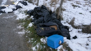Bags believed to contain chemical waste products left over from a drug lab are pictured on the side of a driveway on Woodbine Avenue, south of Herald Road, in East Gwillimbury. (Handout /York Regional Police)