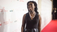 """Giller Prize finalist Esi Edugyan, nominated for her book """"Washington Black"""" stops on the red carpet at the Scotiabank Giller Bank Prize gala in Toronto on Monday, November 19, 2018. THE CANADIAN PRESS/Chris Young"""