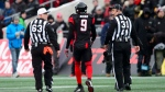 Ottawa Redblacks' Jonathan Rose (9) is escorted off the field while taking on the Hamilton Tiger-Cats during first half CFL East Division final action on Sunday, Nov. 18, 2018. (Sean Kilpatrick/The Canadian Press via AP)