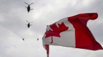 Canadian Forces CH-47 Chinooks participate in a flyover of Parliament Hill in Ottawa on Friday, May 9, 2014. THE CANADIAN PRESS/Justin Tang