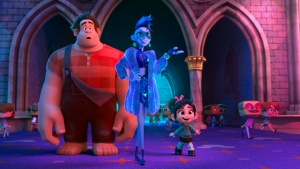 "FILE - This image released by Disney shows characters, from left, Ralph, voiced by John C. Reilly, Yess, voiced by Taraji P. Henson and Vanellope von Schweetz, voiced by Sarah Silverman in a scene from ""Ralph Breaks the Internet."" Studios on Sunday, Nov. 25, 2018, say that the ""Wreck-It Ralph"" sequel ""Ralph Breaks the Internet"" has earned an estimated $55.7 million over the three day weekend and $84.5 million since its Wednesday opening to top the North American charts. (Disney via AP, File)"