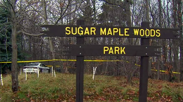 The scene of an investigation into a suspicious incident at Sugar Maple Woods Park in Mississauga is seen on Nov. 27, 2018.