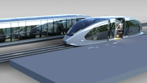 Magnetic levitation train vehicles are pictured in this artist's rendering. (Magnovate Transportation Inc.)
