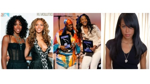 This combination photo shows, from left, Kelly Rowland and Beyonce Knowles of Destiny's Child at the Fashion Rocks concert in New York on Sept. 8, 2005, Missy Elliot and Ciara accepting their awards at the ASCAP Rhythm and Soul Music Awards in Beverly Hills, Calif., on June 26, 2006 and R&B singer and actress Aaliyah in New York on May 9, 2001. Elliott has a history of writing and producing some of pop music's most creative and catchy songs, not just for herself, but for groups like Destiny's Child and the late Aaliyah. (AP Photo)
