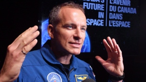Canadian astronaut David Saint-Jacques speaks to reporters during a news conference in Ottawa on June 2, 2015. THE CANADIAN PRESS/Fred Chartrand