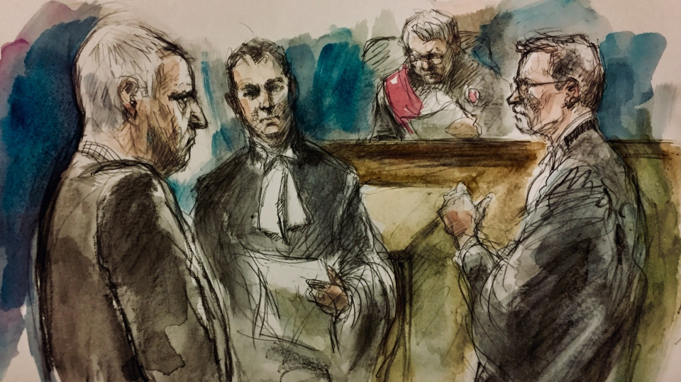 Bruce McArthur, Defence lawyer James Miglin, Justice John McMahon, and Crown attorney Michael Cantlon appear in this artist's sketch of a Nov. 30 judicial pretrial for McArthur. (Sketch by Pam Davies)