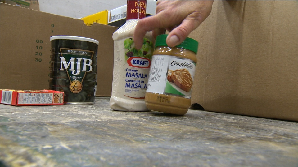 Food donations are sorted at a food bank in this file image.