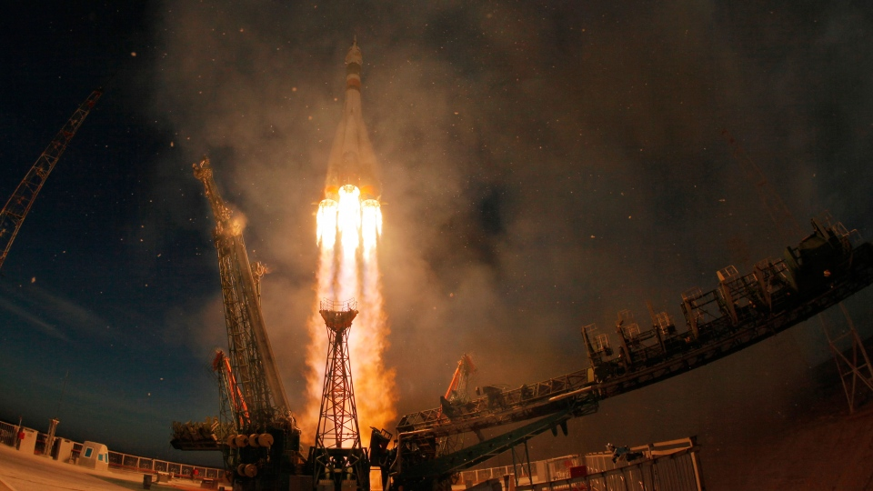 The Soyuz-FG rocket booster with Soyuz MS-11 space ship carrying a new crew to the International Space Station, ISS, blasts off at the Russian leased Baikonur cosmodrome, Kazakhstan, Monday, Dec. 3, 2018. The Russian rocket carries U.S. astronaut Anne McClain, Russian cosmonaut Oleg Kononenko and CSA astronaut David Saint Jacques. (AP Photo/Dmitri Lovetsky)