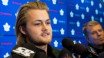 Toronto Maple Leafs forward William Nylander speaks to the media regarding his new contract in Toronto on Monday, December 3, 2018. THE CANADIAN PRESS/Nathan Denette